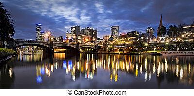 melbourne, australia, noche