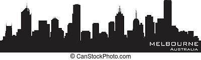 melbourne, australia, skyline., szczegółowy, wektor, sylwetka