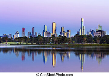 Melbourne Australia Skyline viewed from Albert Park Lake at Sunrise