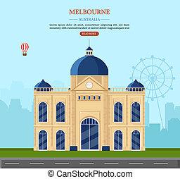 Melbourne Australia Vector illustration. famous landmark postcards