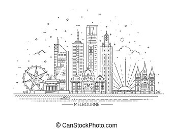 melbourne, australien, skyline., fodra, stad horisont, illustration