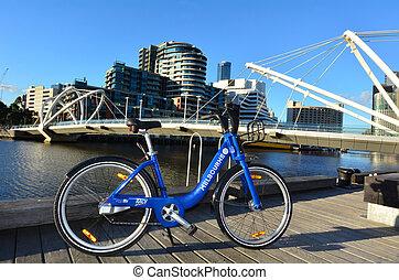 melbourne, bicicleta, acción