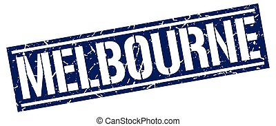 Melbourne blue square stamp