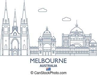 melbourne, cidade, austrália, skyline