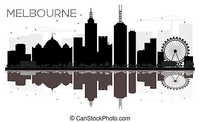 Melbourne City skyline black and white silhouette with reflections.