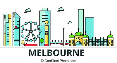 Melbourne city skyline. Buildings, streets, silhouette, architecture, landscape, panorama, landmarks. Editable strokes. Flat design line vector illustration concept. Isolated icons on white background