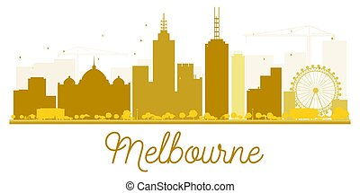 Melbourne City skyline golden silhouette.