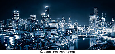 Melbourne City - The beautiful city of Melbourne at night