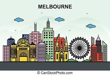 Melbourne City Tour Cityscape Skyline Colorful Illustration