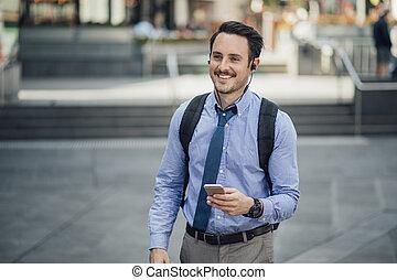 melbourne, commuer, millennial, homme affaires