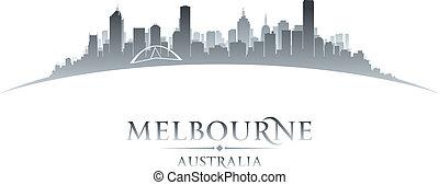 melbourne, fundo, skyline, cidade, austrália, silueta, branca