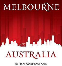 melbourne, fundo, skyline, cidade, vermelho, austrália, silueta