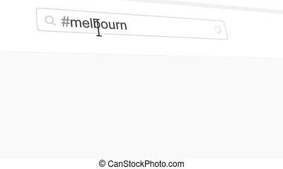 Melbourne hashtag search through social media posts animation
