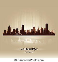 melbourne, horizonte cidade, austrália, silueta