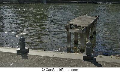 Melbourne old wooden dock - Old wooden dock on Yarra river...