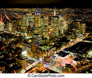 melbourne overview - melbourne at night looking over the...