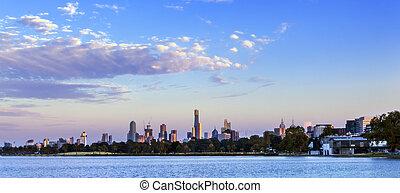 melbourne, panorama, amanecer