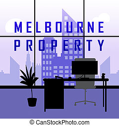 Melbourne Real Estate Property City Representing Australian Realty In Victoria - 3d Illustration