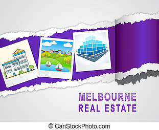 Melbourne Real Estate Property Photos Representing Australian Realty In Victoria - 3d Illustration