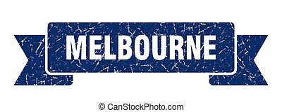 Melbourne ribbon. Blue Melbourne grunge band sign