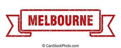 Melbourne ribbon. Red Melbourne grunge band sign
