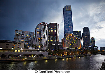 Melbourne, Australia - April 6th, 2012 : Hotels and building in the riverside quay are in the afternoon which is famous place for dining in the evening
