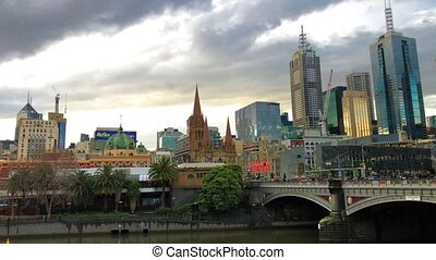 MELBOURNE - SEPTEMBER 8, 2018: Panoramic view of Melbourne skyline at sunset.