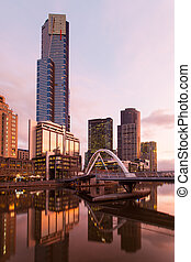 Melbourne Skyline at Dusk - Melbourne's famous skyline from...