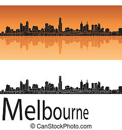 Melbourne skyline in orange background in editable vector ...