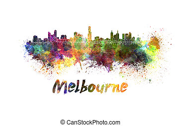 Melbourne skyline in watercolor splatters with clipping path