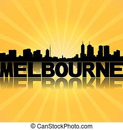 Melbourne skyline reflected with sunburst illustration