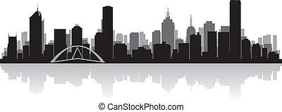melbourne, skyline, vetorial, cidade, austrália, silueta