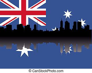 Melbourne Skyline with flag