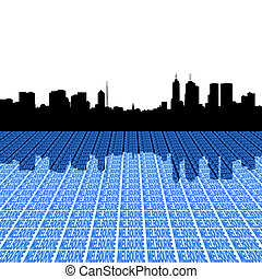 Melbourne skyline with perspective text foreground illustration