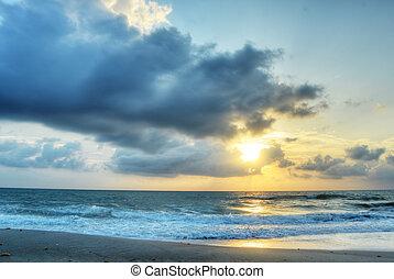 melbourne, spiaggia, a, alba