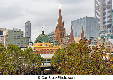 Melbourne station and cathedral at autumn