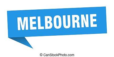 Melbourne sticker. Blue Melbourne signpost pointer sign