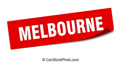 Melbourne sticker. Melbourne red square peeler sign