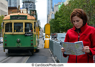 Melbourne tramway network - MELBOURNE,AUS - APR 11...