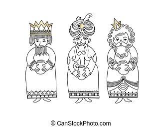 melchior, -, trois, gaspard, rois, vacances chrétiennes, noël