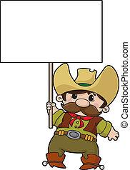 meldingsbord, cowboy, leeg