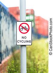 meldingsbord, cycling, nee, buitenshuis