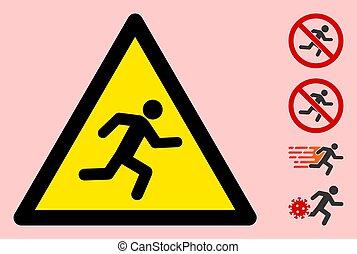 meldingsbord, driehoek, man lopend, pictogram, vector, waarschuwend