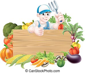 meldingsbord, groentes, spotprent, tuinman