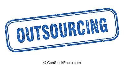 meldingsbord, grunge, plein, blauwe , stamp., outsourcing