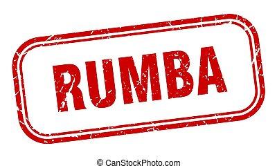 meldingsbord, grunge, plein, rood, stamp., rumba