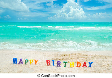 """meldingsbord, """"happy, birthday"""", op, de, miami, tropisch strand"""