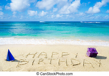"meldingsbord, ""happy, birthday"", op, de, zandig strand"