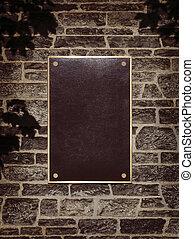 meldingsbord, in, metaal, frame, op, een, muur