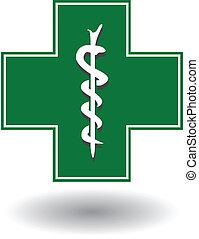 meldingsbord, kruis, apotheek